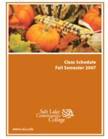 Class Schedule 2007 - Fall Semester for Salt Lake Community College