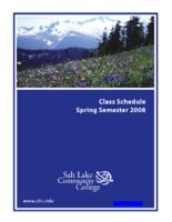 Class Schedule Spring Semester 2008 for Salt Lake Community College