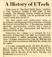 Newspaper Clipping about a History of UTech