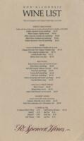 R. Spencer Hines Non-alcoholic Wine List