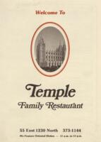 Temple Family Restaurant Breakfast, Luncheon, and Dinner Menu