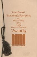 Tenth Annual President's reception and Presentation of the 1978 Partner Company Awards Dinner Menu