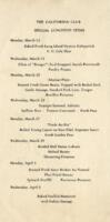 The California Club Specials and Luncheon Menu