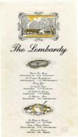 The Lombardy Dinner Menu and Wine List