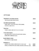 The Park Cafe Appetizer Menu and Drinks List