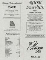 The Plaza Inn Breakfast, Luncheon, and Dinner Menu for Room Service or Cafe Dining