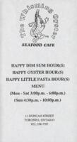 The Whistling Oyster Seafood Cafe Happy Hour Menu