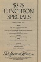 Week of 20-24 $3.75 Luncheon Specials for R. Spencer Hines