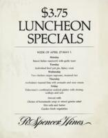 Week of 27- May 1 $3.75 Luncheon Specials Menu for R. Spencer Hines