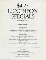 Week of August 3-7 $4.25 Luncheon Specials for R. Spencer Hines
