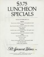 Week of February 2-6 $3.75 Luncheon Menu for R. Spencer Hines