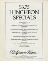 Week of January 12-16 $3.75 Luncheon Specials for R. Spencer Hines