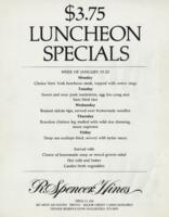 Week of January 19-23 $3.75 Luncheon Menu for R. Spencer Hines