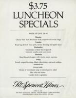 Week of January 26-30 $3.75 Luncheon Specials for R. Spencer Hines
