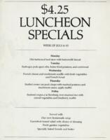Week of July 6-10 $4.25 Luncheon Specials for R. Spencer Hines