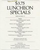 Week of June 1-5 $3.75 Luncheon Specials for R. Spencer Hines