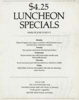 Week of June 29-July 3 $4.25 Luncheon Specials for R. Spencer Hines