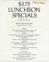 Week of June 8-12 $3.75 Luncheon Specials for R. Spencer Hines