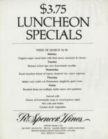 Week of March 16-20 $3.75 Luncheon Specials for R. Spencer Hines