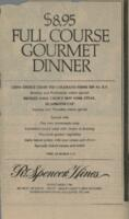 Week of March 9-13 Special $8.95 Full Course Gourmet Dinner Menu for R. Spencer Hines