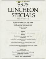 Week of May 11-15 $3.75 Luncheon Specials for R. Spencer Hines