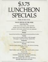 Week of May 18-22 $3.75 Luncheon Menu for R. Spencer Hines
