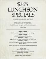 Week of May 25-29 $3.75 Luncheon Specials