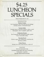 Week of September 14-18 $4.25 Luncheon Specials for R. Spencer Hines