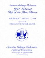 American Culinary Federation 1994 National Chef of the Year Dinner Menu