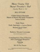 Alpine Country Club Annual President's Ball Dinner Menu