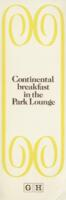 Continental Breakfast in the Park Lounge Menu