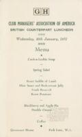 Club Managers' Association of America British Counterpart Luncheon Menu