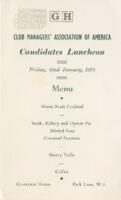 Club Managers' Associate of America Candidates Luncheon Menu