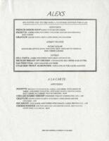 Alex's La Carte Dinner Dinner Menu