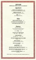 Dinner Menu with Red Ornate Border Printed on Linen Paper