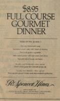 Full Course Gourmet Special Dinner Menu for R. Spencer Hines