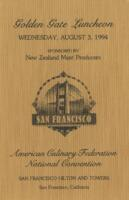 Golden Gate Luncheon Menu for American Culinary Federation National Convention