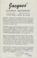 Jacques' European Restaurant Luncheon and Dinner Menu and Wine List