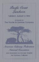 Pacific Coast Luncheon Menu at the American Culinary Federation National Convention