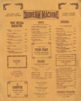 Dream Machine Dinner Menu