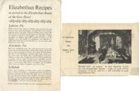 Elizabethan Recipes as Served in the Elizabethan Room at the Gore Hotel