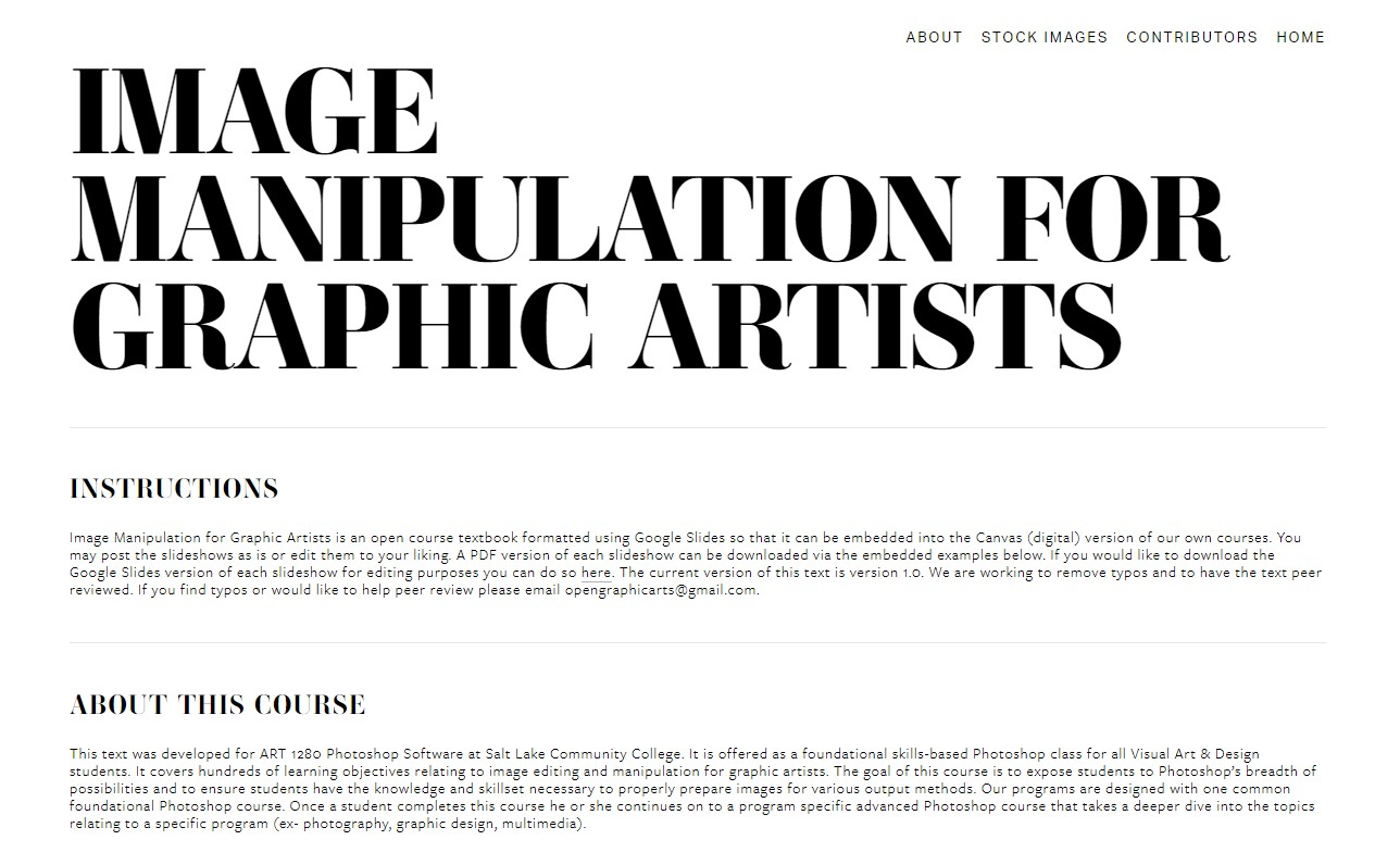 Image Manipulation for Graphic Artists OER
