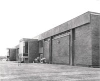 East exterior of the Automotive Trades Building, circa 1970