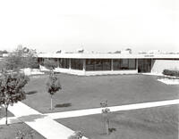 Elevated view of the southwest corner of the College Center, circa late 1970s