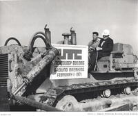 Calvin L. Rampton operating a tractor at the Rampton Technology Building groundbreaking, February 1, 1971