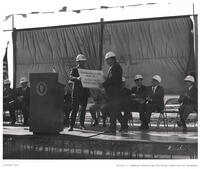 Calvin L. Rampton being made honorary member of the Operating Builders Union, 1971