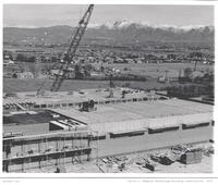 Elevated view of Rampton Technology Building construction, 1971