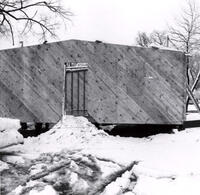 Exterior wall of student project house, 1955-1956