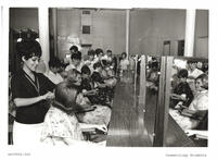 Students styling hair in the cosmetology shop at the 400 South 600 East campus, circa 1960s