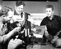 Wallace G. Burt and students working on electron theory of permanent magnets model, circa 1956-1957